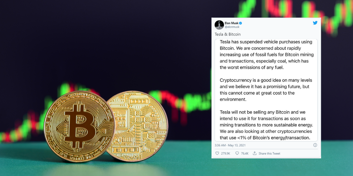 Musk's tweet on cryptocurrency pollution causes plunge in Bitcoin prices